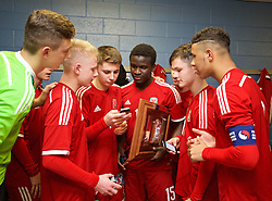 BALLYMENA, NORTHERN IRELAND - Thursday, November 20, 2014: Wales' Ibby Sosani, Liam Cullen and captain Tyler Roberts in the dressing room after beating Northern Ireland 2-0 during the Under-16's Victory Shield International match at the Ballymena Showgrounds. (Pic by David Rawcliffe/Propaganda)