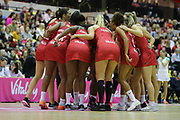 England Women team huddle before the Netball World Cup 2019 Preparation match between England Women and Uganda at Copper Box Arena, Queen Elizabeth Olympic , United Kingdom on 2 December 2018.