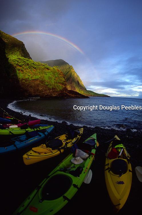 Rainbow, kayaks, Haka'ano, Molokai<br />