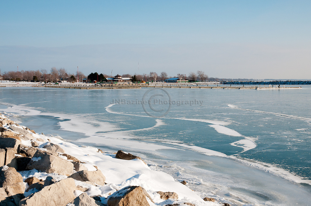The icy shore of Lake Erie in Leamington, Ontario.