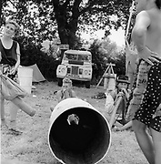 People playing the didgeridoo Glastonbury, Somerset, 1989