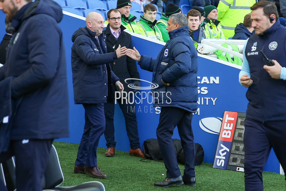 Queens Park Rangers manager Ian Holloway greets Brighton & Hove Albion manager Chris Hughton during the EFL Sky Bet Championship match between Brighton and Hove Albion and Queens Park Rangers at the American Express Community Stadium, Brighton and Hove, England on 27 December 2016. Photo by Phil Duncan.