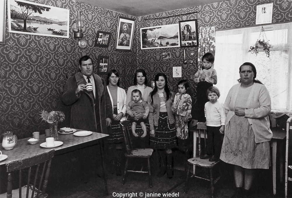 Irish Tinker Traveller family in house in Southern Ireland in  1970's.