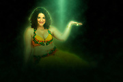 Digitally enhanced image of a Belly dancer as she offers her hand