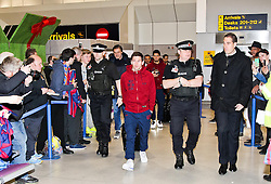 Lionel Messi of FC Barcelona arrives at Manchester Airport with the squad ahead of the UEFA Champions League tie against Manchester City - Photo mandatory by-line: Matt McNulty/JMP - Mobile: 07966 386802 - 23/02/2015 - SPORT - Football - Manchester - Manchester Airport