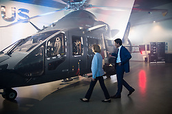 The forthcoming Airbus light defense Helicopter for military uses, 'The Guepard' has been presented in Marignane Airbus headquarters (close to Marseille) by Florence Parly, French army minister and Bruno Even, Airbus Helicopters CEO on May the 27, 2019. It will fly two years earlier from the initial schedule, 2026 instead of 2028. Airbus has presented the first full scale model this day. The inter army lightweight secured Helicopter program represent 2,000 Jobs for Airbus Helicopters. Photo by Clement Mahoudeau / ABACAPRESS.COM
