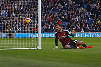 Football - 2018 / 2019 Premier League - Brighton and Hove Albion vs. Watford<br /> <br /> Ben Foster of Watford watches a header from Lewis Dunk of Brighton go wide of the post at The Amex Stadium Brighton <br /> <br /> COLORSPORT/SHAUN BOGGUST