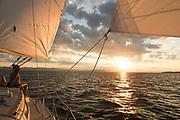 Sailing on Lake Champlain in Burlington, Vermont.