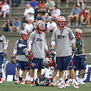 Members of the Boston Cannons warm up prior to the game at Harvard Stadium on May 10, 2014 in Boston, Massachusetts. (Photo by Elan Kawesch)
