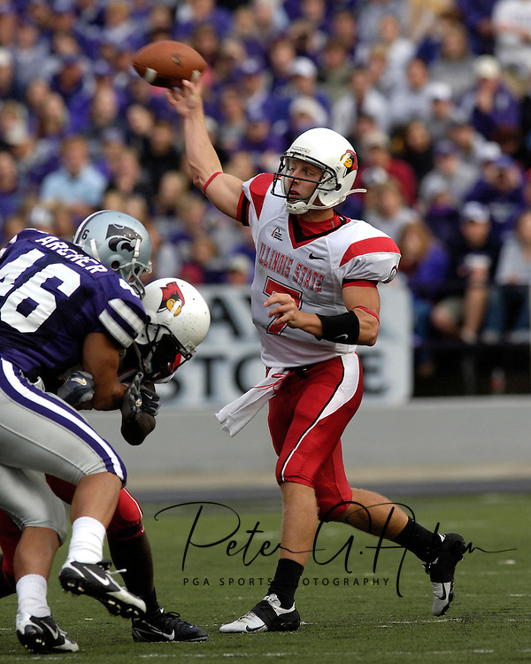 Illinois State quarterback Luke Drone (7) throws the ball down field under pressure from Kansas State's Brandon Archer (46) in the first half at Bill Snyder Family Stadium in Manhattan, Kansas, September 2, 2006.  The Wildcats beat the Redbirds 24-23.