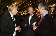 Boris Johnson, Hugo Dixon and Andrew Gimson,  Book party for 'The Dream of Rome' by Boris Johnson. Daunts bookshop. Marylebone High St. London.  1 February 2006. -DO NOT ARCHIVE-© Copyright Photograph by Dafydd Jones 66 Stockwell Park Rd. London SW9 0DA Tel 020 7733 0108 www.dafjones.com