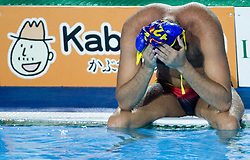 Dissapointed Spanish player Xavier Garcia after the Men's  Waterpolo Final match between National teams of Serbia and Spain during the 13th FINA World Championships Roma 2009, on August 1, 2009, at the Stadio del Nuoto,  in Foro Italico, Rome, Italy. Serbia won after penalties shootout 14:13.  (Photo by Vid Ponikvar / Sportida)