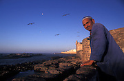 Moslem fisherman outside the walled harbour, Essaouira