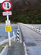 One of New Zealand's many one-lane bridges, this one spanning the Waimakariri River, near Arthurs Pass.