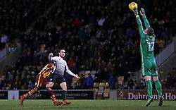 Jack Marriott of Peterborough United scores his sides third goal past Rouven Sattelmaier of Bradford City - Mandatory by-line: Joe Dent/JMP - 26/12/2017 - FOOTBALL - Northern Commercials Stadium - Bradford, England - Bradford City v Peterborough United - Sky Bet League One