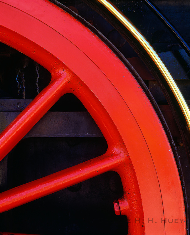 0307-1003B ~ Copyright:  George H. H. Huey ~ Detail of driving wheel on working replica of the engine,  'Jupiter', one of two engines that met at Promentory, Utah on May 10, 1869, for the completion of the transcontinental railway.  Golden Spike National Historic Site, Utah.