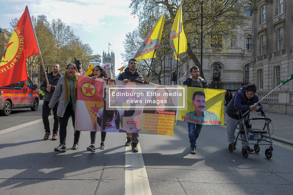 Kurds gathered in London to demand an end to the isolation of Mr. Ocalan and to raise awareness of Leyla Guven and the thousands of other kurdish political prisoners currently on hunger strike.<br /> <br /> Richard Hancox | EEm 13042019