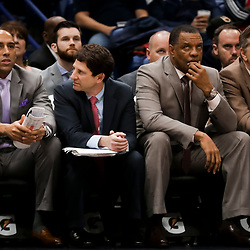 Feb 12, 2019; New Orleans, LA, USA; New Orleans Pelicans head coach Alvin Gentry (second on right) watches from the bench during the fourth quarter against the Orlando Magic at the Smoothie King Center. Mandatory Credit: Derick E. Hingle-USA TODAY Sports
