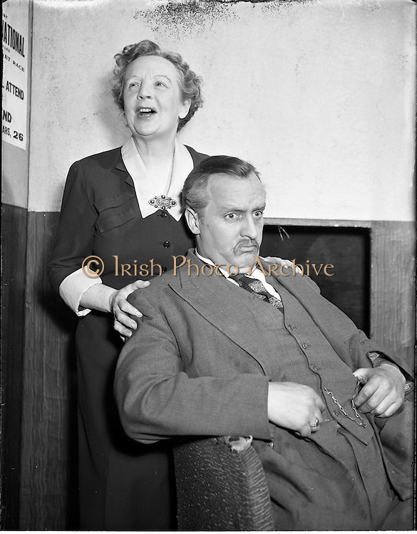 "25/03/195<br /> 03/25/1955<br /> 25 March 1955<br /> Scenes from the play ""The Glorious Uncertainty"" at Queens theatre, Dublin for the Abbey Theatre."