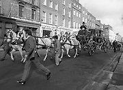 St Patrick's Day Parade.1982.17/03/1982.03.17.1982.17th March 1982.The coach departs to the viewing stand on O'Connell Street.