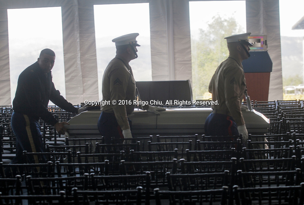 Pallbearers rehearsal with the casket at  the Ronald Reagan Presidential Library in Simi Valley, California on March 10, 2016. Former US first lady Nancy Reagan was lying in repose at her husband's presidential library on, with members of the public paying their last respects ahead of a private funeral. (Photo by Ringo Chiu/PHOTOFORMULA.com)<br /> <br /> Usage Notes: This content is intended for editorial use only. For other uses, additional clearances may be required.