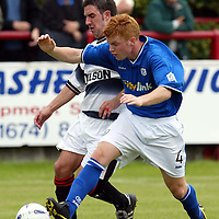 Brechin v St Johnstone....Pre-season friendly..17.07.04<br />Stevie McManus tackles Charlie King<br /><br />Picture by Graeme Hart.<br />Copyright Perthshire Picture Agency<br />Tel: 01738 623350  Mobile: 07990 594431