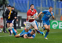 Rome, Italy -Alex Cuthbertson tap tackled by Conzales during Italia vs Galles race of the championship rugby SIX NATIONS played at the Olimpico in Rome.(Credit Image: © Gilberto Carbonari/).