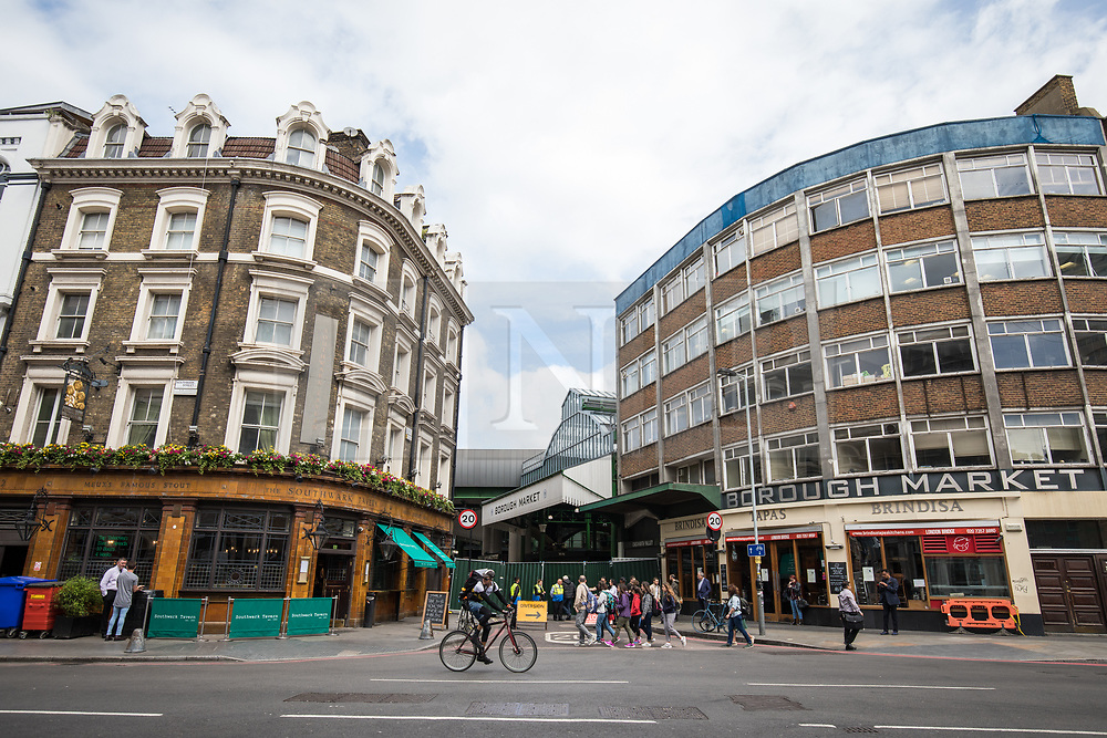 © Licensed to London News Pictures. 12/06/2017. London, UK. Borough Market as traders begin clearing up and prepare to reopen. The market was the scene of a terrorist attack on Saturday 3 June 2017 in which eight people were killed. Photo credit: Rob Pinney/LNP
