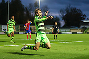 Forest Green Rovers Christian Doidge(9) celebrates scoring, 2-1 during the Vanarama National League match between Forest Green Rovers and Aldershot Town at the New Lawn, Forest Green, United Kingdom on 5 November 2016. Photo by Shane Healey.