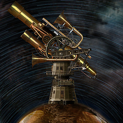 Digital Illustration of a whimsical Victorianesque style interplanetary telescope observatory. Created utilising conventional and digital illustrative techniques with photo composite elements