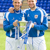 St Johnstone FC 2008-09  Paul Sheerin and Kevin Rutkiewicz pictured with the Scottish First Division trophy...05.05.09<br /> Picture by Graeme Hart.<br /> Copyright Perthshire Picture Agency<br /> Tel: 01738 623350  Mobile: 07990 594431