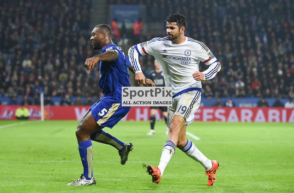 Diego Costa has a sly dig with his elbow at Wes Morgan (c) Simon Kimber | SportPix.org.uk