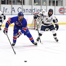 TORONTO, ON  - OCT 29,  2017: Ontario Junior Hockey League game between the Toronto Jr. Canadiens and the Toronto Patriots, Jack McBain #19 of the Toronto Jr. Canadiens and Greame MacLean #16 of the Toronto Patriots skate after the puck during the second period.<br /> (Photo by Andy Corneau / OJHL Images)