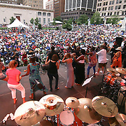 Habana Sax invites members of the audience on stage during a performance at final day of the 26th annual duPont Clifford Brown Jazz Festival Saturday, June 21, 2014, at Rodney Square Park in Wilmington, DEL.    <br /> <br /> &ldquo;The Clifford Brown Jazz Festival is a staple of Wilmington&rsquo;s performing arts culture,&rdquo; said Mayor Dennis P. Williams. &ldquo;The City is excited to celebrate the 26th anniversary and I hope the community gets involved and enjoys all of the many activities the festival has to offer.&rdquo;<br /> <br /> The Clifford Brown Jazz festival is the largest FREE out door music event on the east coast of the United States.