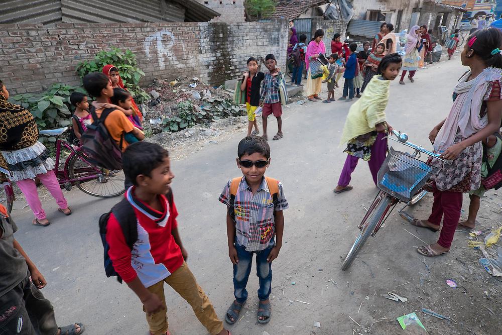 Students go home after class from Ananda Siksha Niketan ( home of joyful learning ), Bhabta, Murshidabad, West Bengal, India, on  April 11, 2015.<br /> Photo by Oren Nahshon