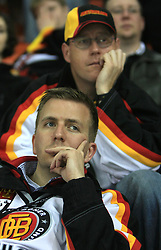 Sad German Fans at ice-hockey match Germany vs Norway (they have old replika jerseys from year 1966) at Preliminary Round (group C) of IIHF WC 2008 in Halifax, on May 07, 2008 in Metro Center, Halifax,Nova Scotia, Canada. (Photo by Vid Ponikvar / Sportal Images)