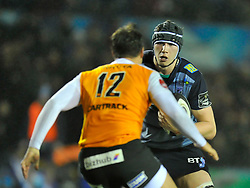 Cardiff Blues' Seb Davies  takes on Cheetahs' Nico Lee<br /> <br /> Photographer Mike Jones/Replay Images<br /> <br /> Guinness PRO14 Round 14 - Cardiff Blues v Cheetahs - Saturday 10th February 2018 - Cardiff Arms Park - Cardiff<br /> <br /> World Copyright © Replay Images . All rights reserved. info@replayimages.co.uk - http://replayimages.co.uk