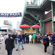 Fans arrive for the Boston Red Sox V Tampa Bay Rays, Major League Baseball game on Jackie Robinson Day, Fenway Park, Boston, Massachusetts, USA, 15th April, 2013. Photo Tim Clayton