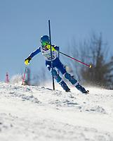 Paul Ledouceur Slalom U14 boys second run with Gunstock Ski Club.  <br /> ©2017 Karen Bobotas Photographer