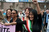Roma 7 Giugno 2011.Piazza Bocca della Verita'.Sciopero dei tassisti proclamato da 7 sigle sindacali che chiedono il cambiamento del regolamento comunale in via di approvazione in Campidoglio