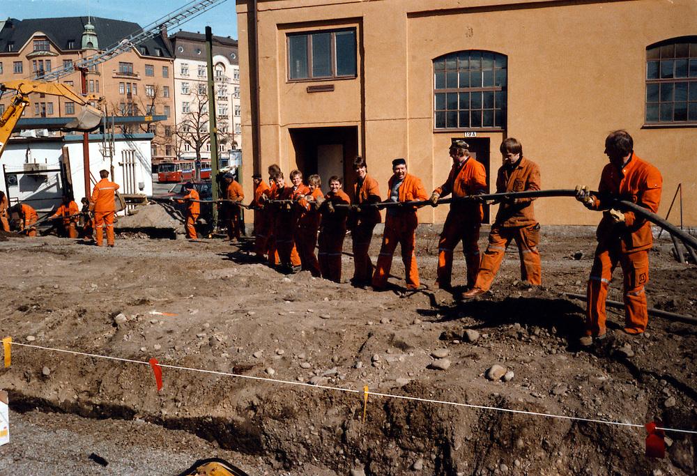 Kabelläggning på Centralen i Stockholm.