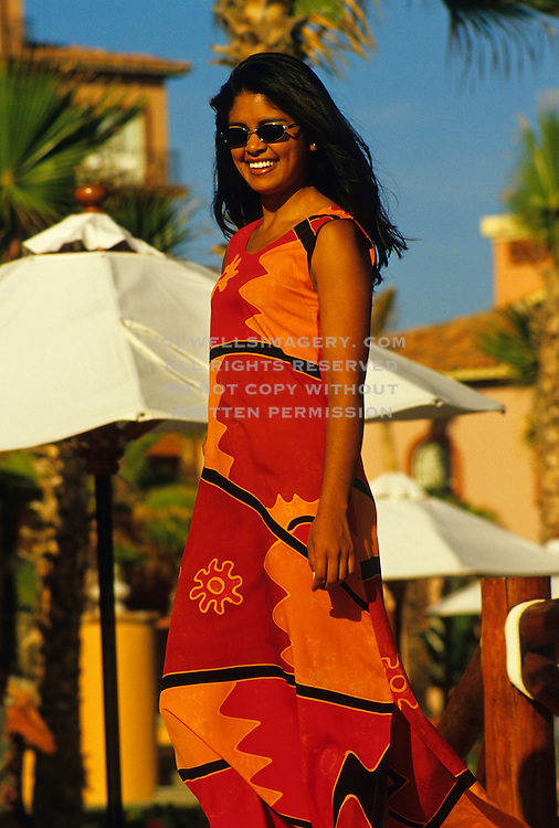 Image of native Mexican woman at Hacienda del Mar Resort in Cabo san Lucas, Baja California Sur, Mexico, model and property released