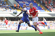 Ipswich Town forward David McGoldrick and Barnsley defender Marc Roberts during the EFL Sky Bet Championship match between Ipswich Town and Barnsley at Portman Road, Ipswich, England on 6 August 2016. Photo by Nigel Cole.
