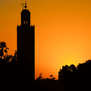 The Koutoubia Mosque silhouetted by sunset. The Koutoubia Mosque is Marrakech's oldest and largest architectural feature.
