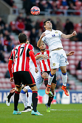 Brian Montenegro of Leeds United heads the ball - Photo mandatory by-line: Rogan Thomson/JMP - 07966 386802 - 04/01/2015 - SPORT - FOOTBALL - Sunderland, England - Stadium of Light - Sunderland v Leeds United - FA Cup Third Round Proper.