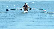 Varese,  ITALY. 2012 FISA European Championships, Lake Varese Regatta Course. ..EST W1X Kaisa PAJUSALU,  at the start for her heat of the Women's Single Sculls...13:14:20  Friday  14/09/2012 .....[Mandatory Credit Peter Spurrier:  Intersport Images]  ..2012 European Rowing Championships Rowing, European,  2012 010796.jpg.....