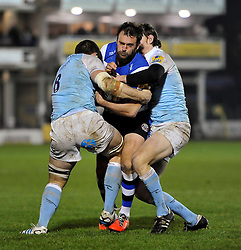 Luke Arscott of Bath Rugby is double-tackled - Photo mandatory by-line: Patrick Khachfe/JMP - Mobile: 07966 386802 15/11/2014 - SPORT - RUGBY UNION - Bath - Recreation Ground - Bath Rugby v Newcastle Falcons - Aviva Premiership