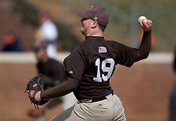 Lehigh pitcher Ken Longernecker (19).  The #17 ranked Virginia Cavaliers baseball team defeated the Lehigh Mountain Hawks 12-1 at the University of Virginia's Davenport Field in Charlottesville, VA on February 24, 2008.
