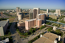 Aerial view of The Texas Medical Center featuring The Jesse H. Jones Rotary House International foreground in Houston,Texas.