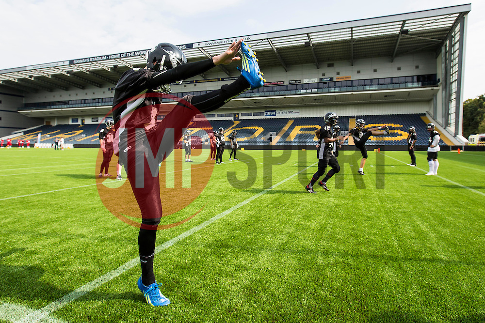Kent Exiles warm up - Mandatory by-line: Jason Brown/JMP - 27/08/2016 - AMERICAN FOOTBALL - Sixways Stadium - Worcester, England - Kent Exiles v East Kilbride Pirates - BAFA Britbowl Finals Day